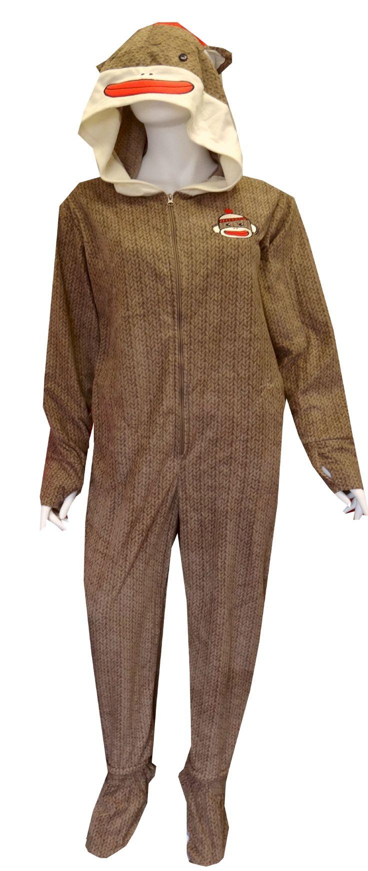 Sock Monkey Fleece Onesie Footie Pajamas With Hood Now You