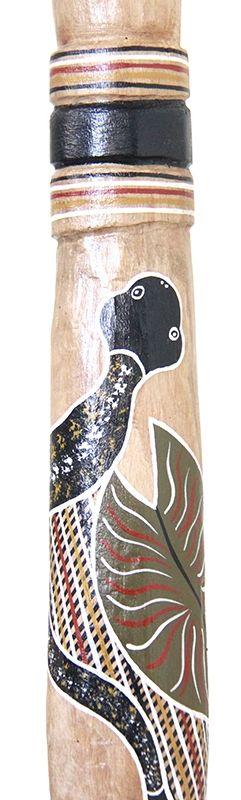 Datjirri Wunungmurra Yidaki (2474) Key: E Length: 135cm Weight: 2.3kg Timber: Eucalyptus Stringybark Mouthpiece: Natural Timber 1st Toots G Mouth inner diameter 30mm Bell inner diameter 63mm