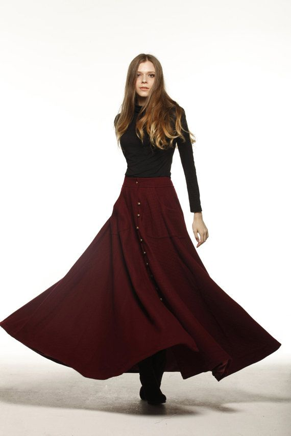 Graceful Wine Red Big Sweep Long Maxi Woolen Skirt  - NC199 on Etsy, $98.99