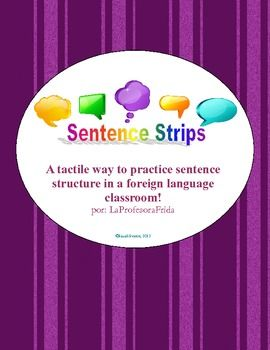 $3 Sentence Strips- Sentence Structure Practice -AR verbs present tense activity. Hands on, Spanish lesson, Spanish manipulative