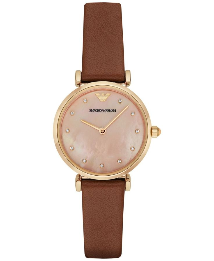Add a touch of elegance with this brown leather strap watch by Emporio Armani, featuring a lovely crystal accented coral mother-of-pearl dial. | Brown leather strap; single prong buckle closure | Roun