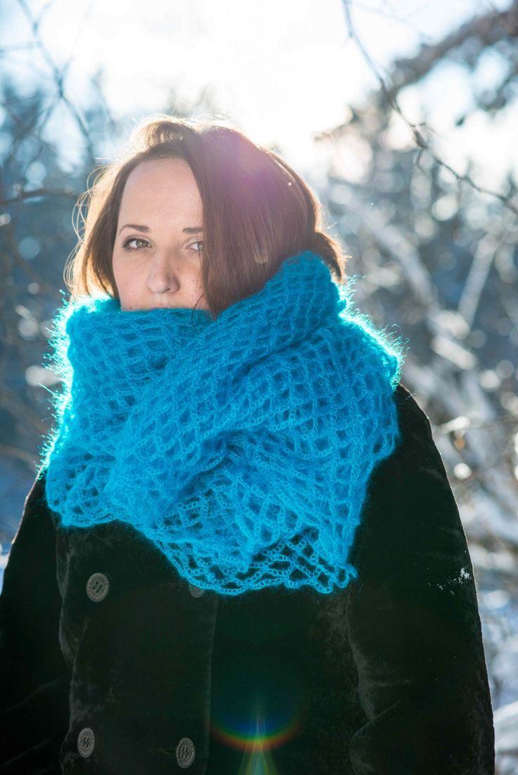 Handmade scarf. Russian shawl. Knit shawl. Warm scarf. Vivid colors. Fashion scarf. Traditional lace. (Lux Italian yarn - mohair and silk) by MammadeStudio on Etsy