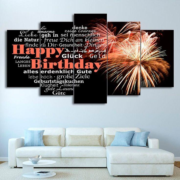 5 panel happy birthday canvas wall art enjoy canvas