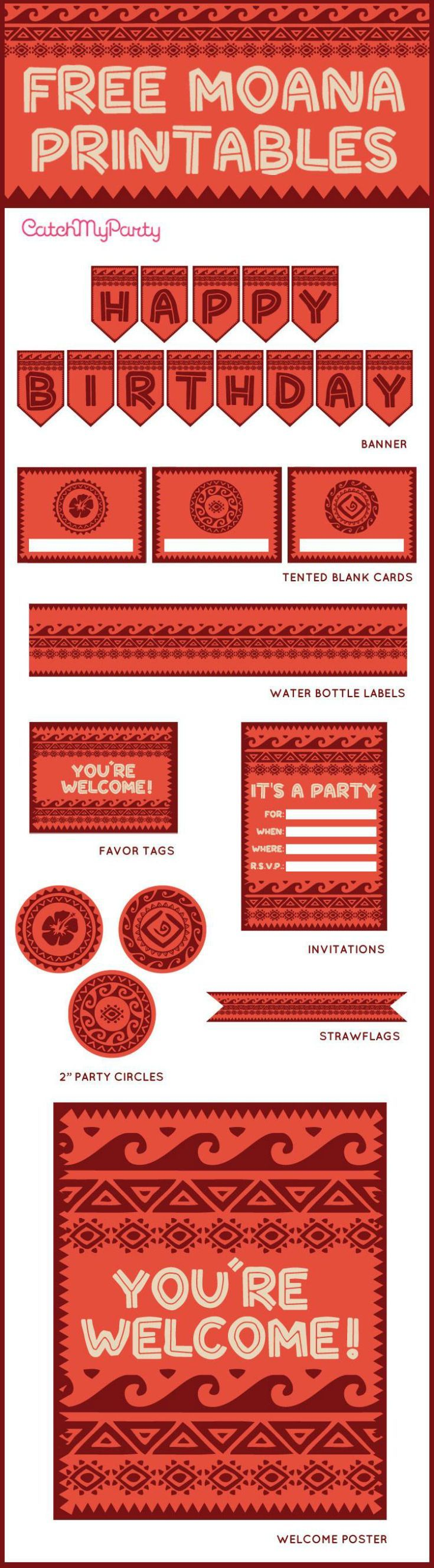 """Free Moana printables to use for your birthday party. The collection includes birthday invitations, cupcake toppers, a """"Happy Birthday"""" banner, a welcome sign, favor tags and more! 