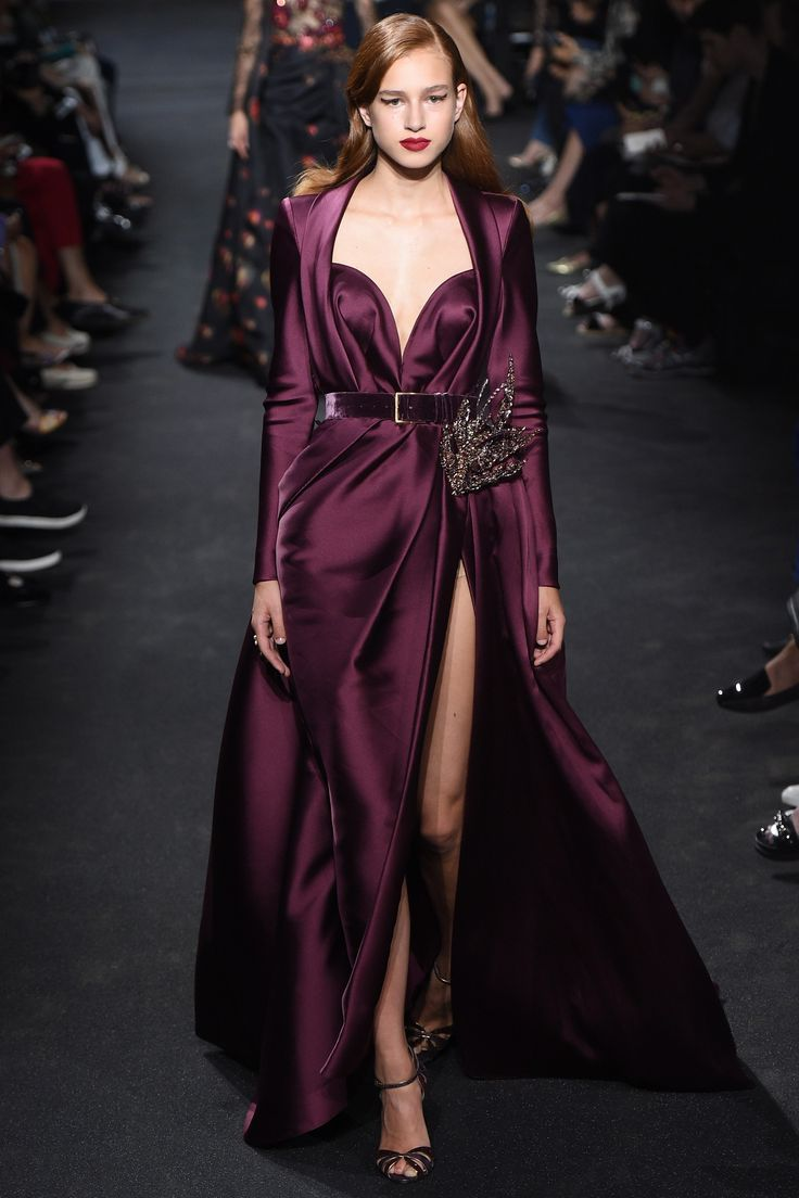 Elie Saab Fall 2016 Couture Collection Photos - Vogue - amazing silk purple burgundy plum dress