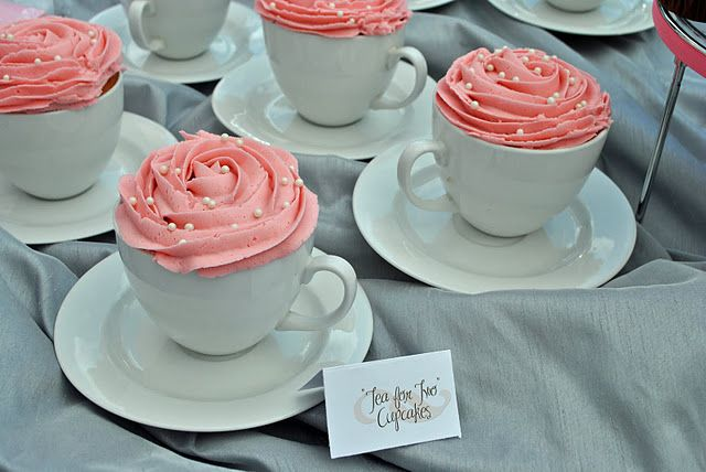 """""""Tea for Two""""  - cupcakes in tea cups!  Made these for my twin girlies' first birthday. :)"""