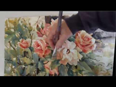 Ev Hales Painting Roses Demonstration Stage 2 - YouTube