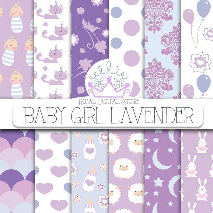 "Baby girl digital paper:""BABY GIRL LAVENDER"" with baby girl scrapbook paper, baby girl pattern, lavender baby shower for scrapbooking, cards #baby #planner #pink #digitalpaper #scrapbookpaper"