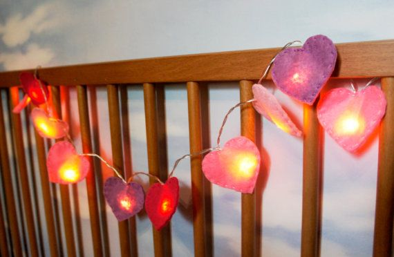 Heart String Lights felt heart night light by PrettyFeltThings #nightlight #nurserylight #lightbulb #heart #lightstring
