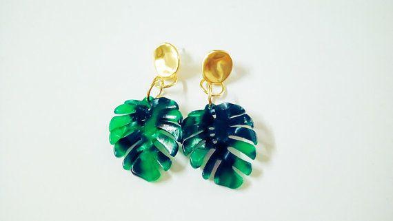 64469bdc0 Monstera Earrings, Monstera Leaf Earring, Matte Gold, Tropical Earrings,  Botanical Earrings, Palm Leaf Earring, Acrylic Earrings, Palm Leaf