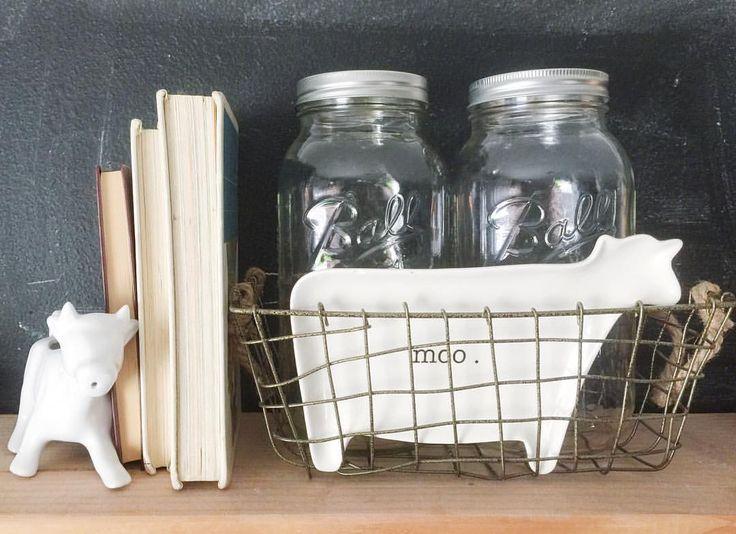 Farmhouse decor. Thrifted mason jars. Rae Dunn. See this Instagram photo by @thethriftedhouse • 115 likes