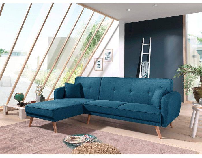 Bestmobilier Canap/é dangle r/éversible scandinave Convertible rev/êtement en Velours Olaf 239x85x158cm