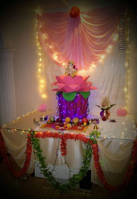 Ganpati decoration ideas ganesh pooja decoration for Decoration ganpati