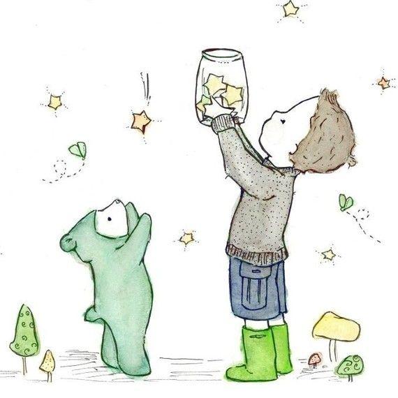 Catching Stars 8X10 Childrens Art Print $20