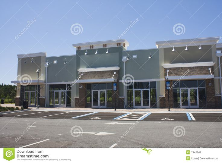 Strip Mall | Pastel strip mall with stucco and traditional brick.