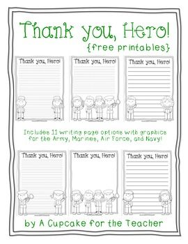 free printable writing paper to thank military members thank you hero great