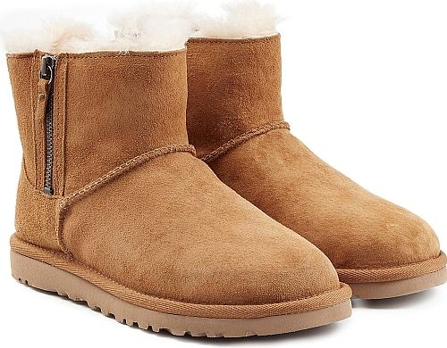 UGG Australia Women's Shoes in Brown Color. An update on the classic mini silhouette, these UGG Australia boots are a perennial must with their easy-to-style zipped sides and fuzzy shearling lining. Tan suede, round toe, zipped sides, sheepskin insole, gripped rubber sole. Super versatile, they're perfect for pairing with denim