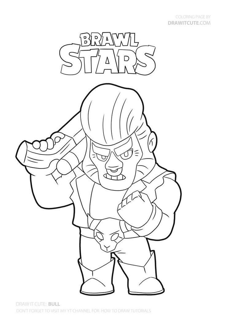 Bull From Brawl Stars Coloringpages Fanart Brawlstars Drawitcute Star Coloring Pages Shark Coloring Pages Coloring Pages