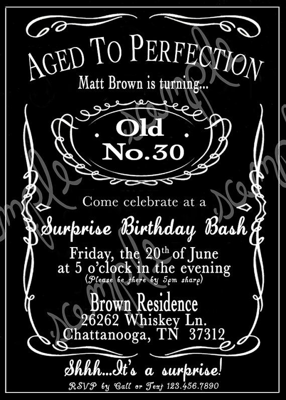 Adult Black and White Whiskey 30th 40th 50th Birthday Party