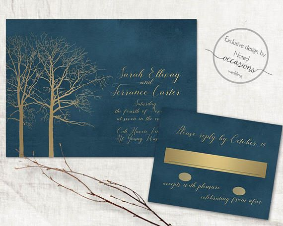 Romantic Navy Fall Wedding Invitation Winter Wedding
