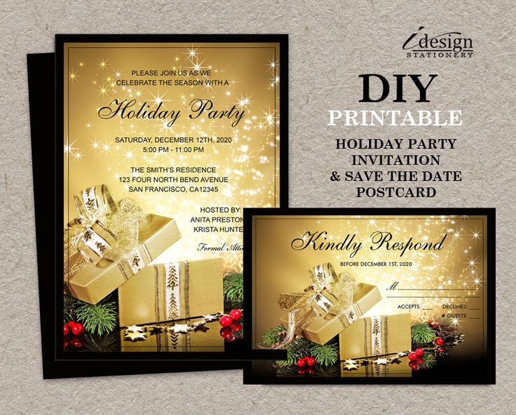 christmas or holiday party invitation with rsvp card