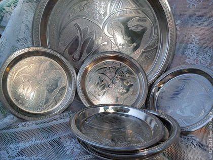 Винтажная посуда. Ярмарка Мастеров - ручная работа. Купить Десертный   набор для кухни. Handmade. Поднос для десетра, Набор тарелок