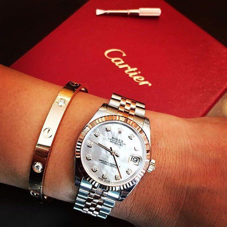 Lady Rolex Datejust with MOP dial x #Cartier bracelet from @evolutionautoworksinc @jennalyn_b by rolexaholics #panerai