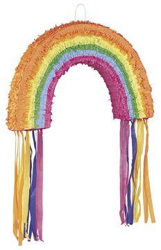 Regenbogen-Piñata: Diese Piñata stellt einen mehrfarbigen Regenbogen dar. Sie ist ungefähr 37 cm x 58 cm groß.   Die Piñata ist die perfekte Idee, um bei Kinderfesten und Geburtstagen für Spaß zu sorgen.Unique...