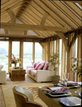 Cosy, informal family space with glazed oak frame walls and roof
