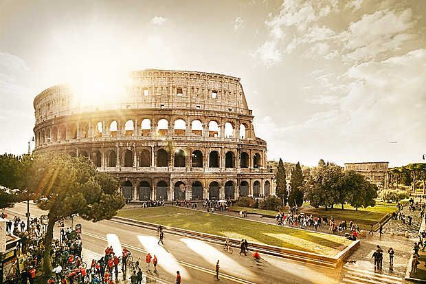 Tom Nagy, Colosseum, 2014 / 2015 © www.lumas.com/ #Lumas - LUMAS Artist Tom Nagy presents historic sights in a series of warm and wonderful images that make us crave a summer stroll! - #Afterglow #Antique #archaeology #Architecture #Building #Cities #City #Europe #Italy #Monument #Monuments #Oldtown#oldtowns #pictorial #Pillar #Pillars #romantic #Romanticism #Rome #Sunset