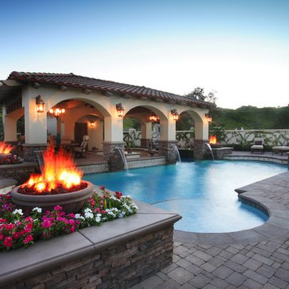 Mediterranean Home built-in tv over fireplace Design Ideas, Pictures, Remodel and Decor