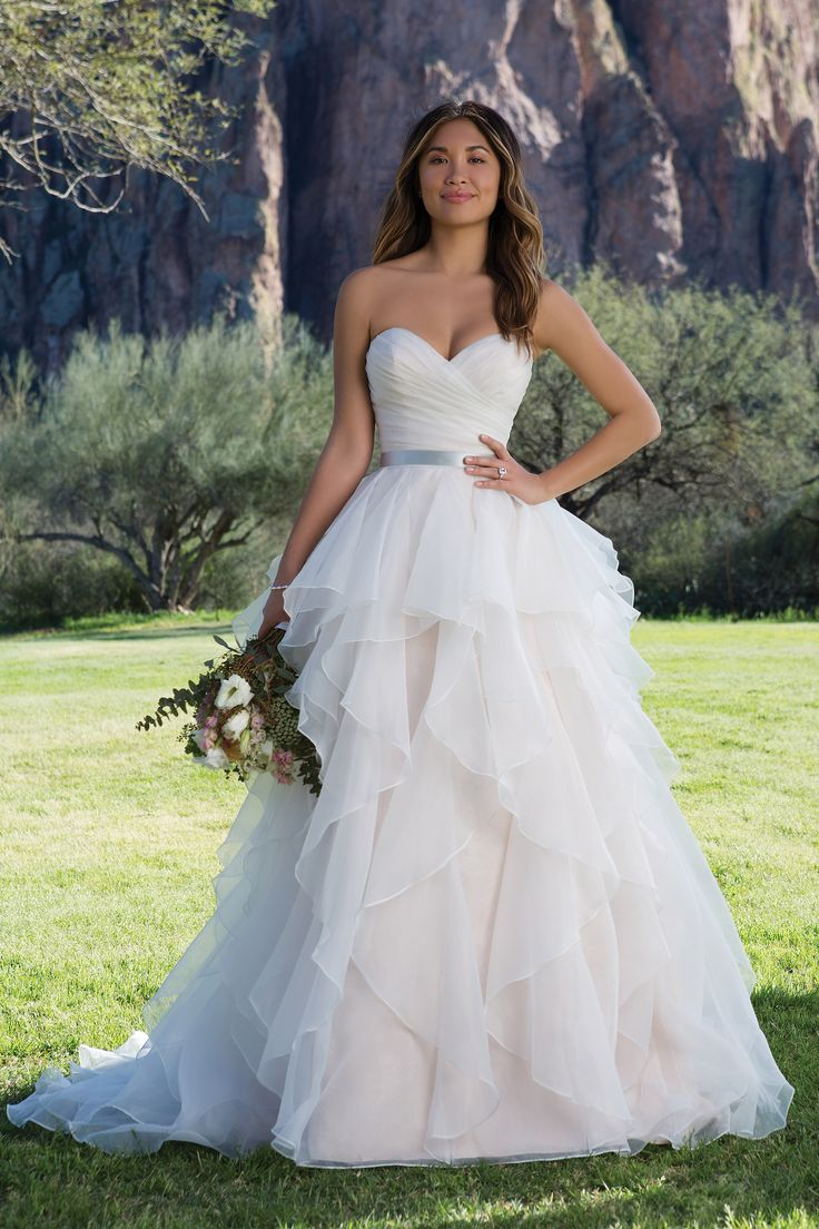 Cute Ruched Bodice Ball Gown with Tiered Organza Skirt Layered ball gown Wedding dresses