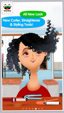 Toca Hair Salon 2 ($1.99) MY FAVORITE APP In this kid-friendly, super-creative app...cut, colour & style any way you want, using lots of different tools–from a simple comb & scissors to a curling iron and a straightener. Trim mustaches, spray mohawks bright pink & give someone the curls they've always wanted!   Did you accidentally snip off too much hair? Make things right with our special tonic G.R.O.W. & top it all off with hats, glasses & other fun accessories.