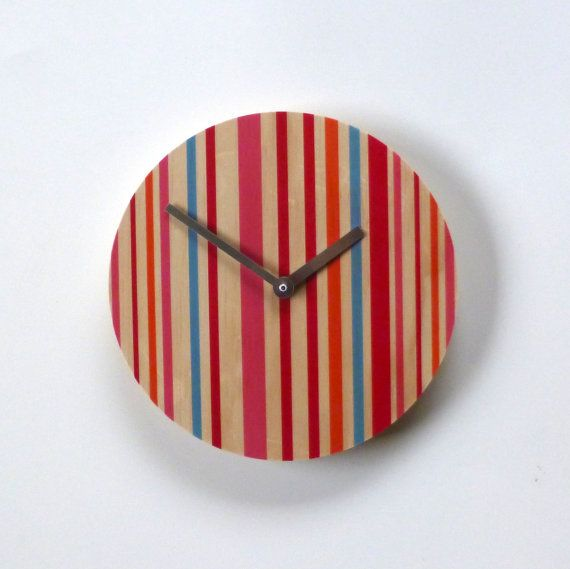 Objectify Pink Stripes Wall Clock by ObjectifyHomeware on Etsy