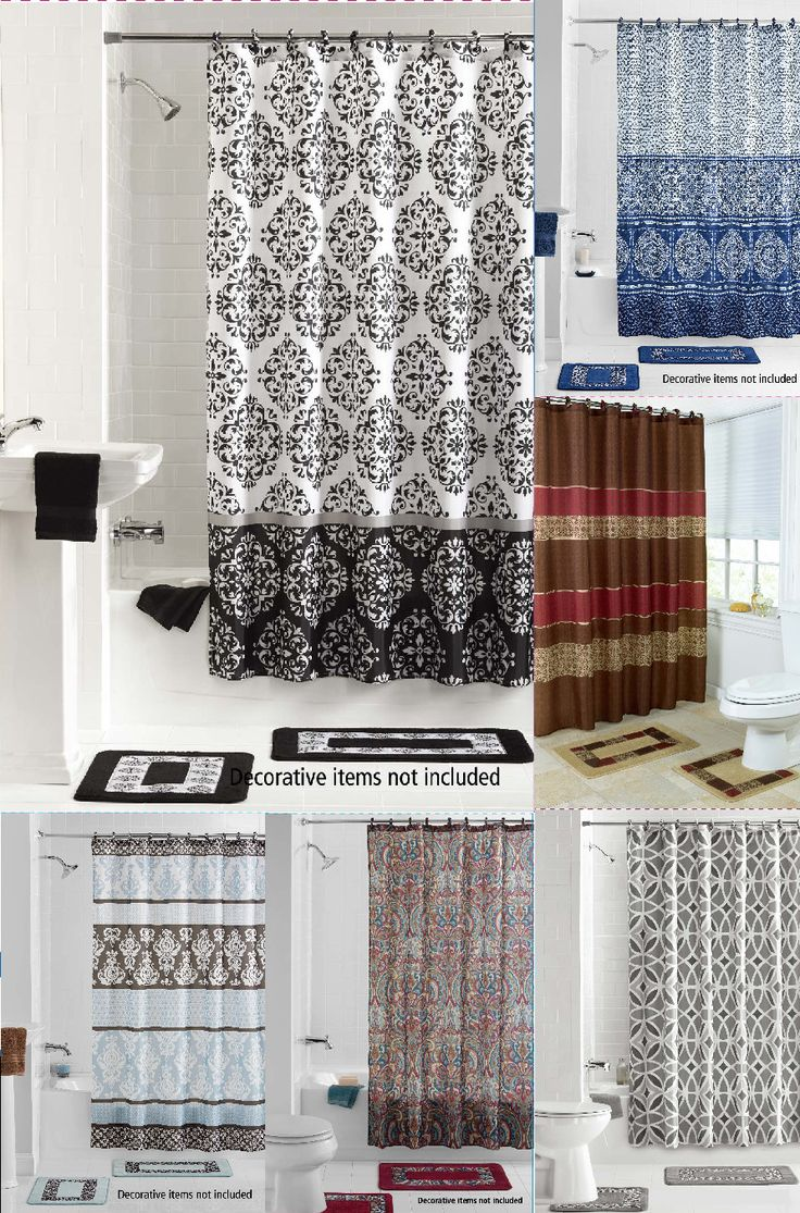 Nautical themed curtain is a perfect choice for bathroom - Many Design Printed Bathroom Bath Mat Set Rug Fabric Shower Curtain Rings 15pc
