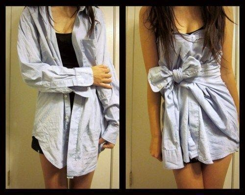 Turning a men's dress shirt into a dress. 1) Lay the collar flat on your back. 2) Button the shirt in front so that it will stay up. 3) Button the rest of the shirt. 4) Take the arms and tie them in a bow in front.: Ideas, Fashion, Style, Clothing, Dr., Men Shirts, Dresses Shirts, Buttons, Diy