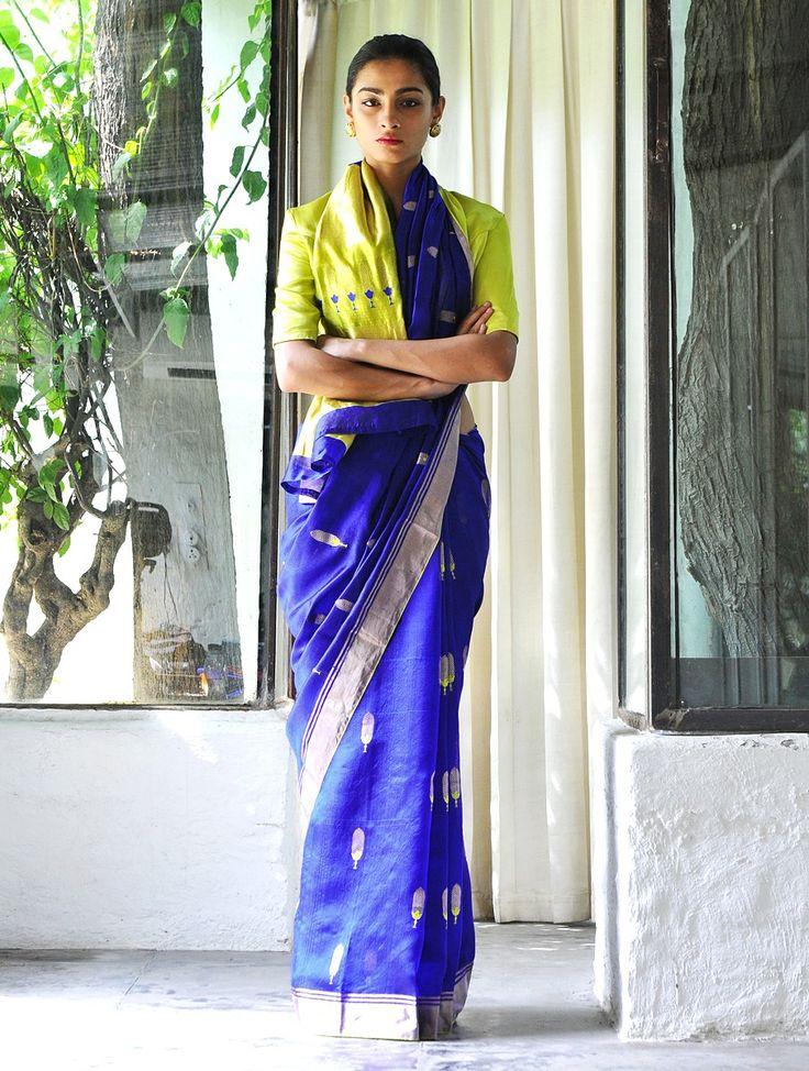 Blue Pallav Silk Zari Handwoven Saree by Raw Mango