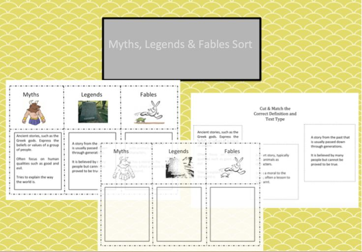 Myths, Legends, and Fables Definition Sort is a great introduction to your myths, legends and fables units of work or lesson. Free!