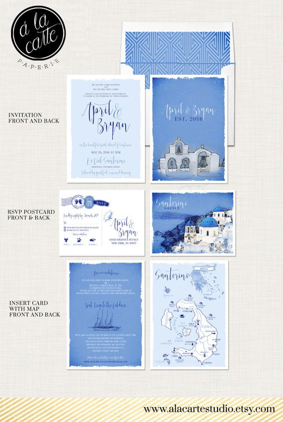 Destination wedding invitation set Santorini Greece Greek Island Invitation Suite European wedding ♥ Deposit Payment to begin work on your customized wedding invitation or suite.  *** Santorini Greece - Greek Island Invitation Suite *** European Greek Islands wedding   The sketches of the Santorini are included. The hand-drawn map of Santorini Island can be customized with your venue location (other customization requests can be accommodated for an additional fee.)   Please note that each…