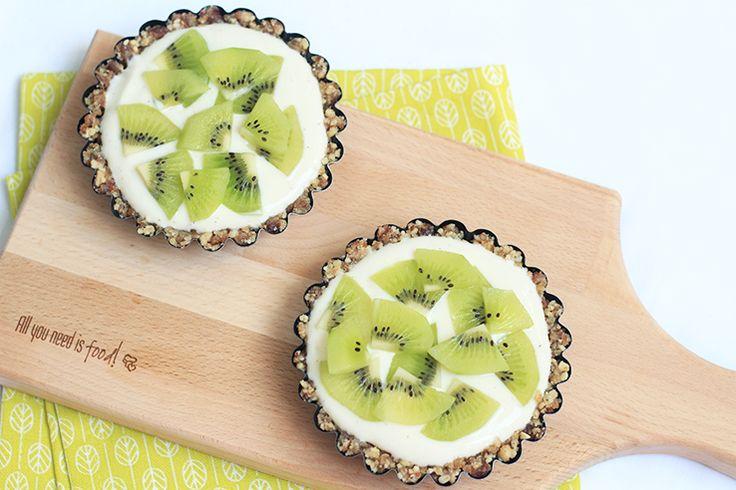 No bake kwarktaartjes met kiwi