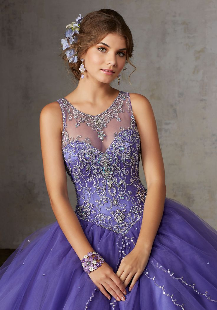 Jeweled Beading on a Split Front Tulle Ballgown | Vizcaya Style 89127 | Accented with Jeweled Beading, Tulle Quinceañera Ballgown Features an Intricately Beaded Bodice with Jewel Illusion Neckline. Matching Stole. Keyhole Corset Back