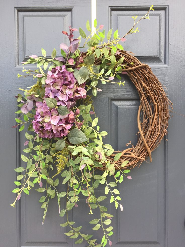 Spring Wreaths, Hydrangea Wreaths, Spring Hydrangeas, Purple Wreaths, Spring Decor, Spring Decorating, Hydrangea Decor, Gift For Her by WreathsByRebeccaB on Etsy