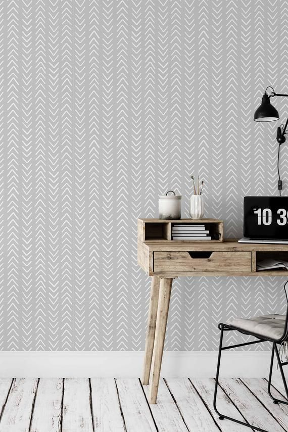 Peel And Stick Wallpaper With White Herringbone Pattern On A Etsy Peel And Stick Wallpaper Scandinavian Wallpaper Herringbone Wall