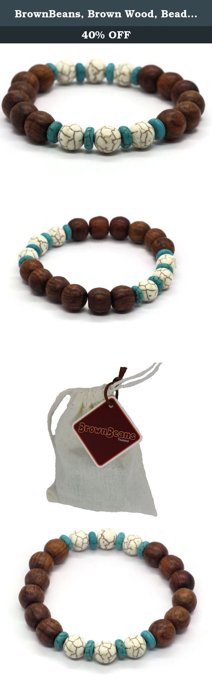 "BrownBeans, Brown Wood, Beads, Surf Style Men's Elastic Stretch Bracelets (CBCT5060). Round Wood & Stone Beads, Mens Casual Wear Surfer Style Stretch Bracelet. Material: Wood, Beads and Elastic Tread. (New Lot) Approx. Size: = 8.2"" Length (Before Stretch), Thickness = 13-13.5 mm (round wood, bigger than old lot), 10 mm (Beads), Fits 7.5"" - 8"" Wrist. Elastic Band, No Clasp, Comfortable to Wear. This bracelet is handmade per piece, maybe a bit different from the pictures. (Included wood…"