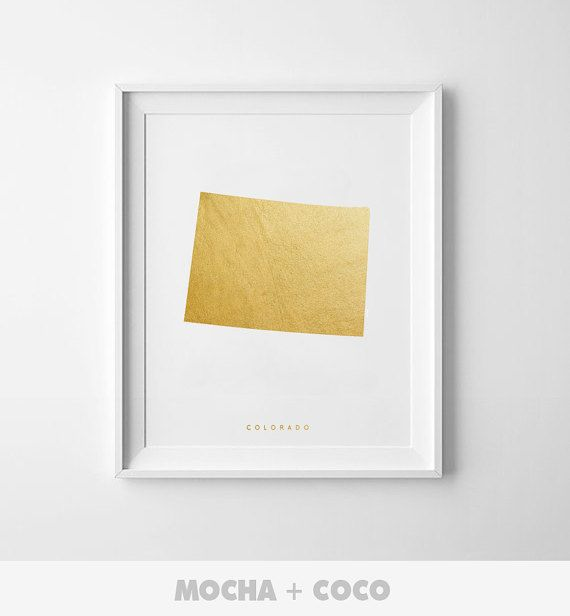 Colorado Gold Map Print US State PosterState Map by MochaAndCoco