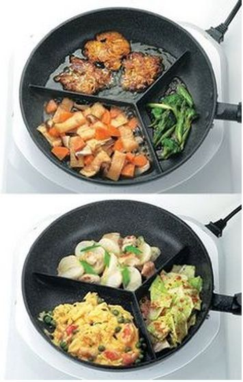GENIUS! Compartment Frying Pan - fry 3 different types of food at once! My life just got a bit better! #spon #gadgets