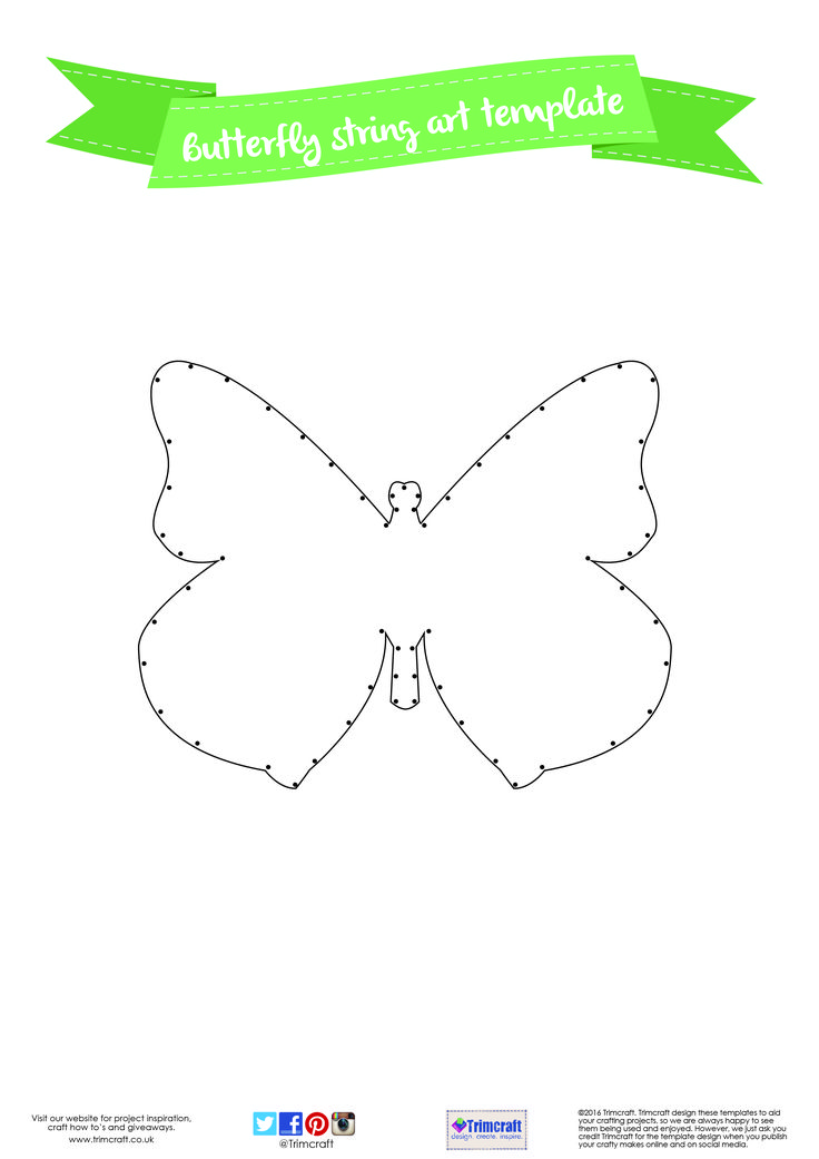 diy home d cor butterfly string art tutorial with free printable template see here how to make. Black Bedroom Furniture Sets. Home Design Ideas