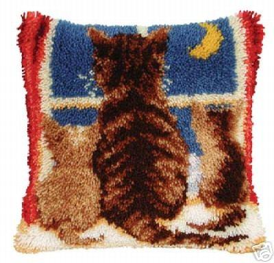 Cat Kittens Cushion Front Latch Hook Kit 16 X16 Ebay