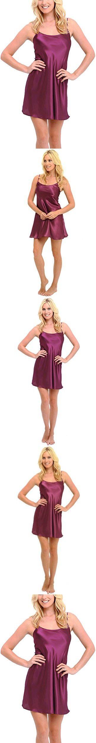 Del Rossa Women's Satin Nightgown, Long Camisole Chemise, Medium Deep Purple (A0766DPUMD)
