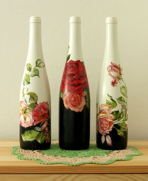 botellas y rosas